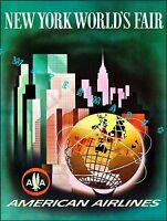 World's Fair 1964 New York American Airline Vintage Poster Airline Travel Print