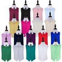 Boys Wedding Waistcoat & Cravat Set Plain Satin Vest FREE Pin & Pocket Square