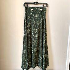 Vintage Mediator High-waist Midi Green Floral Skirt w/ Slit Buttons Sz S