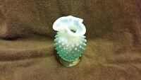 Fenton Glass Blue Opalescent hobnail Ruffled Rim Small Vase