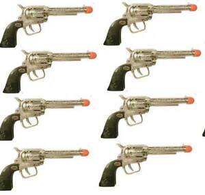 """New  8 Cowboy Western 7.5"""" Silver Chrome Toy Clicker Pistols (Read Conditions)"""