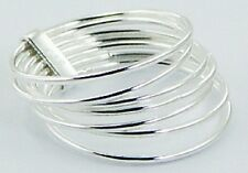Silver ring multi band stackable 925 sterling 7 band ring size 8us 7mm wide