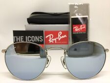 AUTHENTIC RAY-BAN ROUND METAL RB3447 019/30 50MM SILVER MIRROR LENS SUNGLASSES