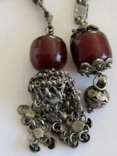 Antique Silver Filigree Cherry Amber Bakelite Lariat Necklace
