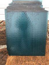 Vintage Rare Blue Textured Antique Industrial Chicken Wire Safety Glass Salvage