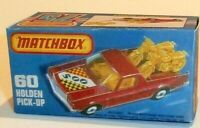 Matchbox Lesney Superfast 60 Holden Ute Pick-up Utility Empty Repro K style Box
