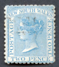 New South Wales Used 1871-1884 2p blue Victoria sound Wm Crown and Nsw