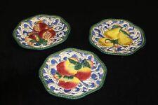 "Lot of 3 Fitz & Floyd Classics Floretine Canape Plates 9"" Across - Signed"