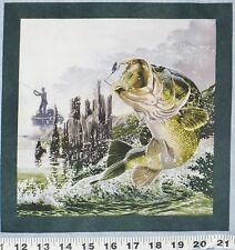 """Fish Fabric Large Bass Spinner Lure Fishing Boat 10"""" Quilt Block Square #33"""