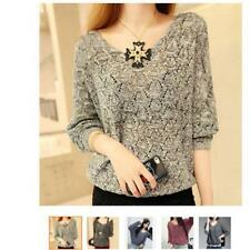 Women Knitted Pullover Jumper Sweater V Neck Long Sleeve Knitwear Tops Loose B