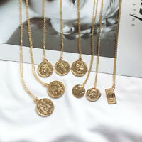 Fashion Round Coin Portrait Pendant Necklace Dainty Layering Necklaces Gifts