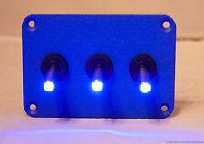 3 HOLE CRINKLE BLUE POWDER COATED PLATE W/ 3 LED TOGGLE SWITCHES - BLUE