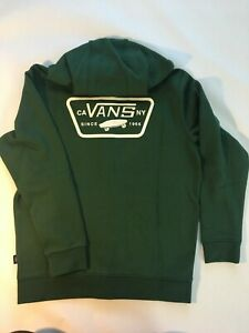Vans New Full Patched Full Zip Hoodie Sweatshirt Pine Needle Youth Boy's Medium