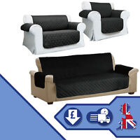 Sofa Cover Black Throw Quilted Pet Protector Set of 3 Armchair 2 & 3 Seater Home