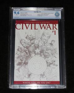 2006 CIVIL WAR # 1 TURNER SKETCH VARIANT (NM+) 9.6 CBCS GRADED CAPTAIN AMERICA