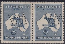 Stamp Australia 2&1/2d indigo Kangaroo 2nd watermark perfin WA inverted pair MH
