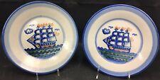 "Excellent 2 M.A. Hadley 9"" Ship Stoneware Plates"