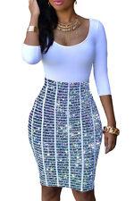 White Glitter Effect Bodycon Dress Club Wear Fashion Evening Wear Size S