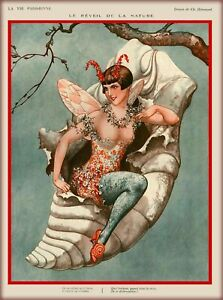 1920s La Vie Parisienne Butterfly Cocoon France Travel Advertisement Print