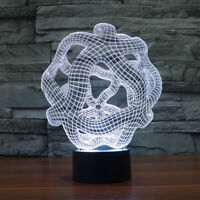 Artistic 3D LED Illusion Bulbing Table Desk Light Lamp Night 7 Color Change