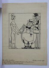 Dessin humoristique signature encre Dettes interalliées 1re guerre mondiale 1925