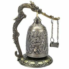Bronze Lock Dragon Carved Buddhist Bell Good Luck Bell for Meditation Altar