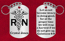NEW, Personalized NURSE Keychain with Galatians Verse, Engraved Gift RN LPN