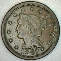 1847 Braided Hair US One Cent Penny Coin 1c Large Cent Copper Coin VF Very Fine
