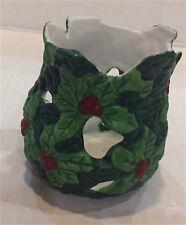 Holly Leaf Red Berry Cut Out Votives Nib Porcelain Tea Lites Included