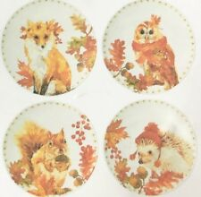 "Woodland Creatures Appetizer Tidbit Melamine Plates 6"" set of 4 Lodge Rustic"