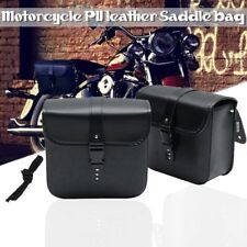 2pcs Universal Motorcycle Saddle Tool Bag Side Pannier Storage Pouch PU Leather
