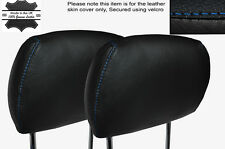 BLUE STITCH 2X FRONT HEADREST SKIN COVERS FITS VAUXHALL OPEL ASTRA G MK4 98-04