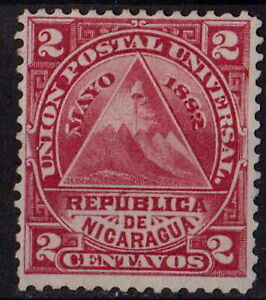 NICARAGUA 1882 Triangle with Coat of Arms Sc#14 2C carmine STAMP MNH