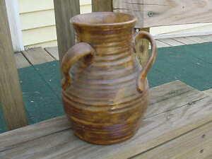 Vintage Fulper Potteries Colonial Ware Coffee Volcanic glaze 3 Handled vase