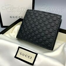 NIB GUCCI MicroGuccissima GG Men's Black Leather Quilted Bi-Fold Wallet 544472