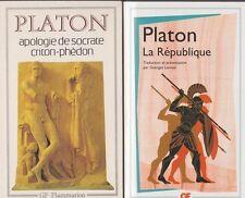 2 livres PLATON LA REPUBLIQUE APOLOGIE DE SOCRATE CRITON-PHEDON philosophie