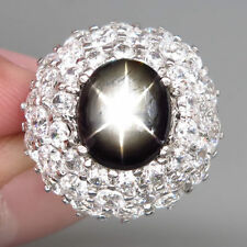 New 925 Silver Ring 100%Natural 6 Rays Black Star Thailand's Sapphire Cabochon
