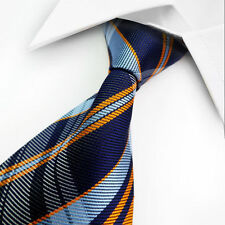 Classic  Blue Orange Check 100% Jacquard Woven Silk Men's Suits Tie set Necktie