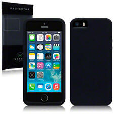 For New Apple iPhone SE/5/5S Rubber Grip Silicone Skin Back Case Cover Black