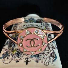 Chanel Repurposed Button Bracelet Pink Rose Gold