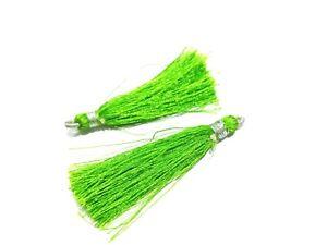 "25 Pair Parrot Green Colour Silk Thread Tassel Jewellery Making 2""inch Tassel"