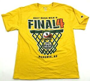 Champion Oregon Ducks Shirt Size Medium M Yellow NCAA Basketball Final Four Tee