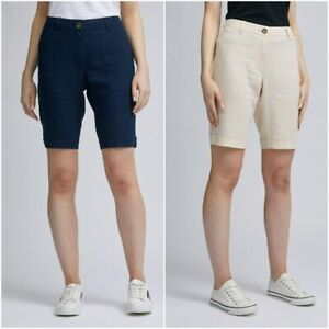 Dorothy Perkins Women's Linen Blend ECO Collection Knee Length Shorts Size 6-20