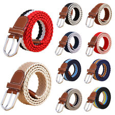 Womens Mens Durable Woven Braided Belt Pin Buckle Webbing Jeans Pants Waistband