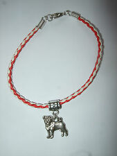 Handmade Pug Leather Bracelet Red & White with Charm Dog Puppy