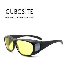 Yellow Lenses Night Vision Driving Glasses Fit Over RX Glasses Reduce Glare NEW