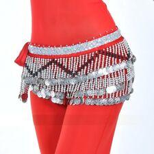SF258# Silver Coins Velvet Belly Dance Costume Hip Scarf Belt 10 Colors