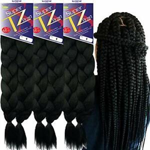 3 packs Pre-Stretched Braiding Hair – 48 Inch – 6 Bundles Total  (1)