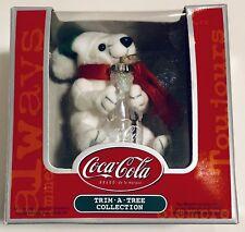 Teddy Polar Bear Plush Christmas Ornament Coca Cola Collectible New In Box