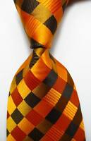 New Classic Checks Gold Black JACQUARD WOVEN 100% Silk Men's Tie Necktie